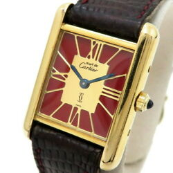 Must Tank Vermeil Sm 366001 Watches Silver925/gold Plated/leather Q...