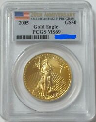 2005 Gold 50 American Eagle 20th Anniversary 1 Oz Coin Pcgs Mint State 69