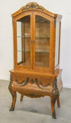 French Antique Display Cabinet/bookcase, Inlaid Burl Walnut With Bronze Hardware