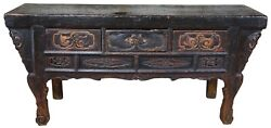 Antique Mongolian Carved And Lacquered Altar Coffer Console Table Sideboard 71