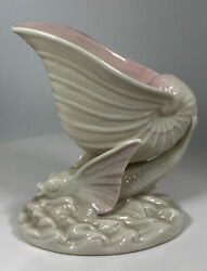 Belleek Ireland Flying Fish With Shell Pink And Ivory Vase Dish Green Mark