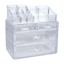 4 Drawer Clear Jewelry Cosmetic Organizer Makeup Case Storage Display Holder Box $17.99