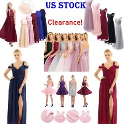 US Sexy Women#x27;s Long Chiffon Lace Evening Party Ball Gown Prom Bridesmaid Dress $16.05