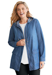 Woman Within Womenand039s Plus Size Lightweight Hooded Jacket