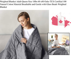 Breathable Weighted Blanket With Glass Beads For Adult Queen Size 18lbs 60 X80
