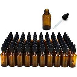 June Fox Glass Dropper Bottle,99 Pack 1oz Amber Bottles With Droppers And Black