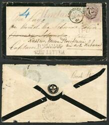Bahamas 1861 Unclaimed 6d Lilac Cover With Fine Bahamas/ship Letter Type S1