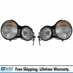Halogen Headlight Lamp Left And Right Pair Set Of 2 For Mercedes Benz E Class