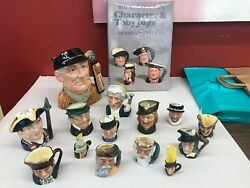 Lot Of 14 Royal Doulton Toby Character Jugs, Large, Small, And Mini With Book