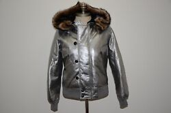 Collection Purple Label Shearling Hooded Leather Bomber Down Jacket