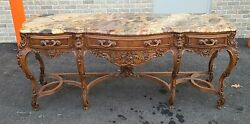 Antique Carved Walnut French Louis Xv Rococo Marble Top Dining Room Sideboard