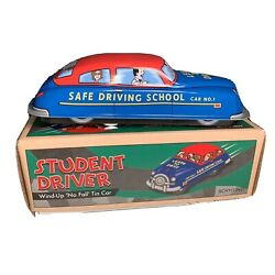 Schylling Tin Student Driver Car And Box Wind-up And No Fall Driving School 2000s