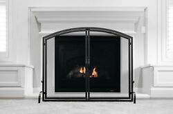 Fireplace Screen With Hinged Magnetic Two-doors Flat Guard Freestanding Black