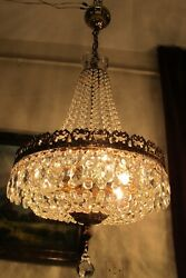 Antique Vnt. French Basket Style Crystal Chandelier Lamp Light Luster 1940and039s-