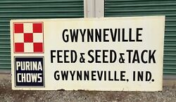 Large Vintage Embossed Purina Feed Seed And Tack Sign Farm Gas Oil