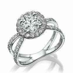 1 3/4 Ct Diamond Engagement Ring Round Cut H/si2 14k White Gold Size 6