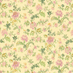 Pink Flower Floral Tan Cream Vinyl Self Adhesive Wall Contact Paper Peel Stick