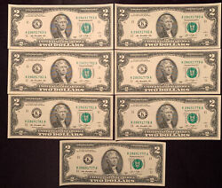Lot Of 7 - Uncirculated - 2013 Two Dollar Federal Reserve Notes - 14 Face - New