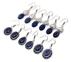 100 Pairs Wholesale Lot Natural Lapis Lazuli Gemstone 925 Silver Plated Earrings