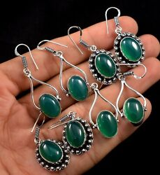 100 Pairs Wholesale Lot Natural Green Onyx Gemstone 925 Silver Plated Earrings