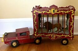 Antique.....wooden Made Folk Art Hand Painted Circus Cage Wagon Toy