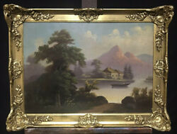 Antique German Oil Painting On Canvas - Mountain Lake Landscape Figure In Boat