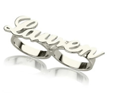 Personalized Custom Font Name Carved Jewelry Fashionable Double Rings