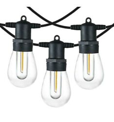 48/96ft Led Outdoor Waterproof Patio Garden String Lights Dimmable Plastic Bulbs