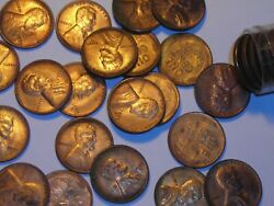 Wheat Penny 1955-s Red Bu 1955s Lincoln Cent Roll Red Unc Some Rainbow Toned