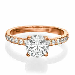 1 1/2 Ct Diamond Engagement Ring Round Cut D/si1 18k Rose Gold Size Selectable