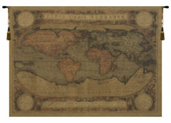 Antique Map Belgian Chenille Nautical World Map Tapestry Wallhanging