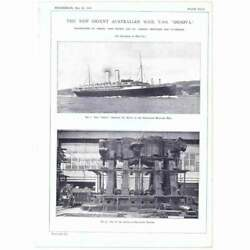 1909 Engineering Antique Engraved Print Orient Australian Mail Liner Ss Orsova