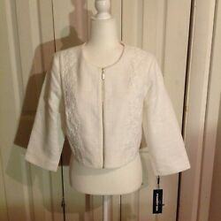 Karl Lagerfeld Paris White Tweed Jacket. New With Tickets. Size Large