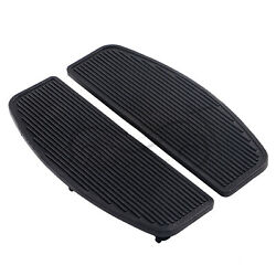 2xmotorcycle Black Front Rider Rubber Footboards Foot Pegs Footrests For Harley