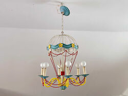 Circa 1940's Vintage French Tole Hot Air Balloon Chandelier | Mid-century