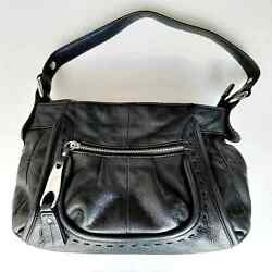 B. Makowski Black Leather Satchel Purse $37.99