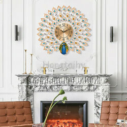 Luxury Peacock Large Wall Clock 25quot; 3D Metal Living Room Wall Watch Home Decor