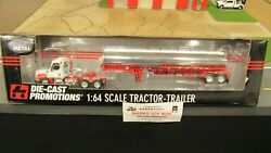 Dcp32757 White Red Chrome Fl Semi Day Cab Truck Fuel Gas Tanker Trailer 164/pl