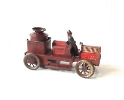 Orobr Tin Toy Fire Truck Wind Up Early 1900's Rare