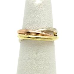 18k Tricolor Gold 750 Trinity Rolling Triple Wedding Bands Rings Sz5