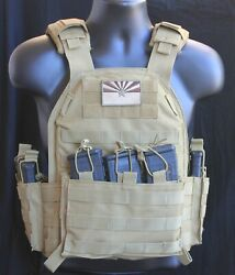 Tactical Vest Plate Carrier W/2 10 X12 Lvl 3 Ar500 Plates- Trauma Pads-pouches