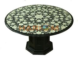 36 Marble Dining Table Top Mother Of Pearl Floral Inlay Art With 18 Stand B696