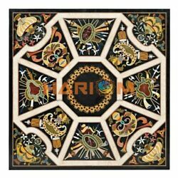42and039and039 Square Black Marble Pietradura Dining Table Top Inlaid Kitchen Decor B321