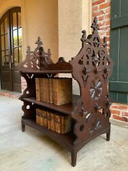 Antique French Carved Oak 3 Tier Shelf Stand Table Patisserie Bookcase Breton