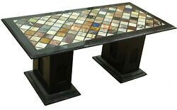 4'x2' Black Marble Dining Table Top Multi Mosaic Inlay With 16 Stand Decor B681