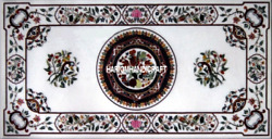 White Marble Dining Table Top Bird With Floral Mosaic Art Inlay Rare Decor H3419