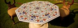 Marble Antique Rare Dining Table Multi Marquetry Stone Inlaid Garden Decor H4317