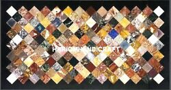 Collectible Stone Marble Dinette Top Table Mosaic Inlay Garden Hallway Art H5267