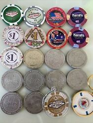 Lot Of 16 Vintage Casino Gaming Chips Plus Las Vegas Lucky Chip