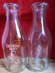 Lot Of 2 Vintage Milk Bottles One Clear And One Edgewood Dairy Lakewood, Nj